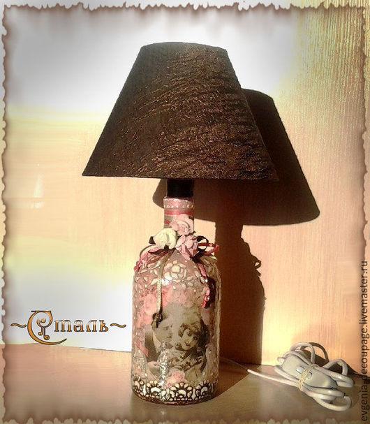 """Освещение ручной работы. Ярмарка Мастеров - ручная работа. Купить ночник """"Винтажное фото"""". Handmade. Розовый, лампа, влюбленная пара"""