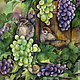 Натюрморт ручной работы. Ярмарка Мастеров - ручная работа. Купить Картина акварелью Воробьи в винограде. Handmade. Натюрморт с фруктами, зеленый