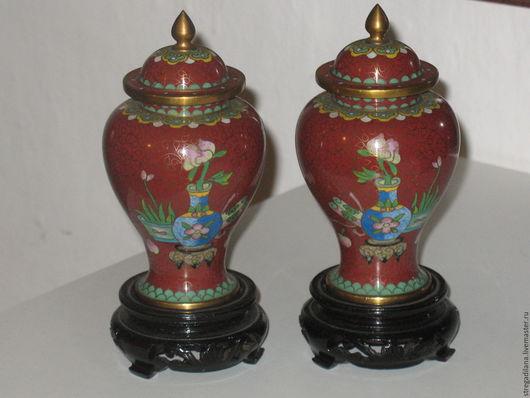 Винтажные предметы интерьера. Ярмарка Мастеров - ручная работа. Купить китайские парные вазы. клуазоне. Handmade. Коричневый, Клуазоне, эмаль