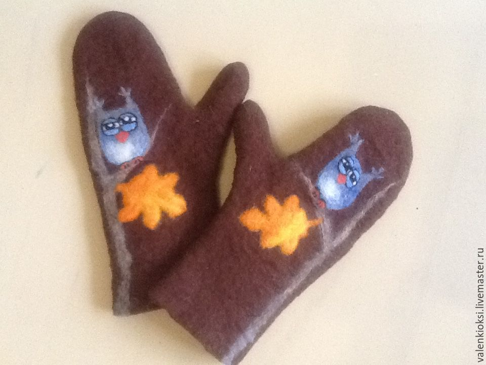 Felted mittens 'Owl 2', Mittens, Volgodonsk,  Фото №1