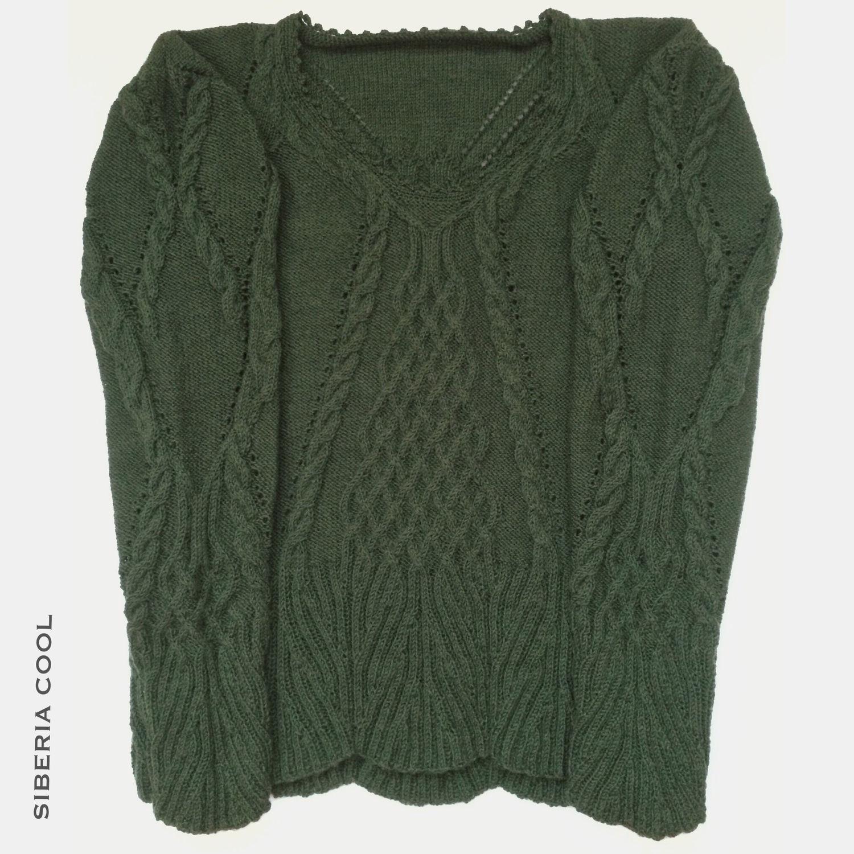 El suéter de la mujer Arana, verde, patrón de arana, las trenzas, el ...