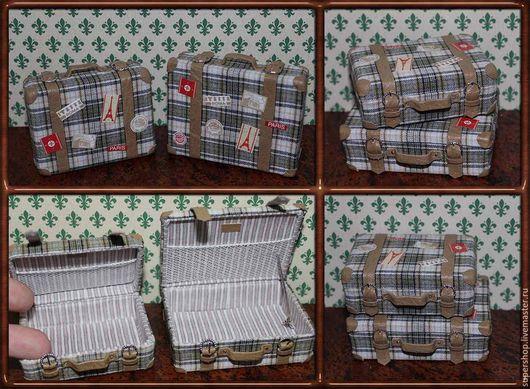 """Миниатюра ручной работы. Ярмарка Мастеров - ручная работа. Купить Миниатюрные чемоданы """"Вояж"""", масштаб 1:12 для кукольного домика. Handmade."""