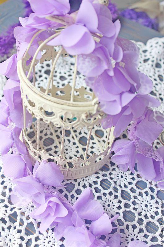 Другие виды рукоделия ручной работы. Ярмарка Мастеров - ручная работа. Купить Шифоновые лавандовые цветочки на сетчатой ленте. 3D кружево. Handmade.