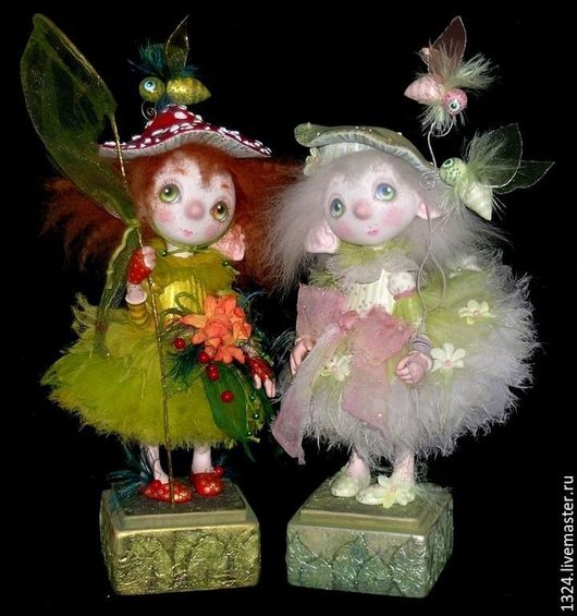 Коллекционные куклы ручной работы. Ярмарка Мастеров - ручная работа. Купить куклы Очень яркий Мухоморчик и очень бледная Поганочка. Handmade.
