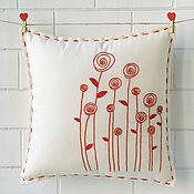 Для дома и интерьера handmade. Livemaster - original item Decorative embroidered rose redwork pillow. Handmade.