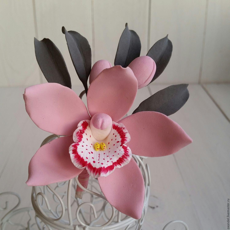 Броши ручной работы. Ярмарка Мастеров - ручная работа. Купить Бутоньерка-брошь розовая орхидея. Handmade. 8 марта