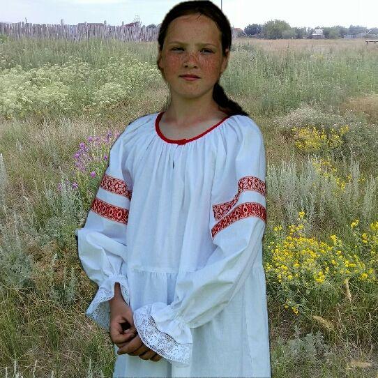 Рубаха народная девичья 10—13лет, Народные рубахи, Борское,  Фото №1