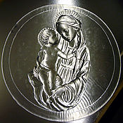 """Для дома и интерьера ручной работы. Ярмарка Мастеров - ручная работа Барельеф """"Мадонна с ребенком"""" Хрусталь. Диаметр 27см. Handmade."""