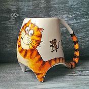 """Посуда ручной работы. Ярмарка Мастеров - ручная работа """"Гамельнский кот"""" - чашка с ножками. Handmade."""