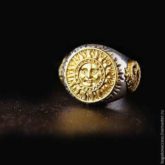 Кольцо Солнце из серебра 925 и латуни, Кольца, Москва,  Фото №1