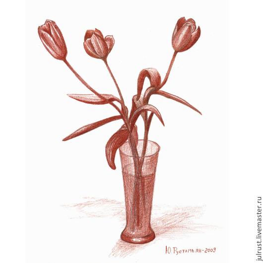 Картины цветов ручной работы. Ярмарка Мастеров - ручная работа. Купить Картина Три тюльпана рисунок карандаш коричневый графика тюльпан. Handmade.