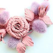 Украшения ручной работы. Ярмарка Мастеров - ручная работа Колье из кожи и меха норки Розовые розы. Handmade.