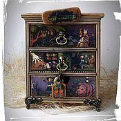 """Для дома и интерьера ручной работы. Ярмарка Мастеров - ручная работа """"Аlice in Wonderland"""" мини-комод винтаж + дневник чудес. Handmade."""