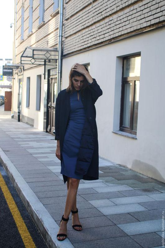 Верхняя одежда ручной работы. Ярмарка Мастеров - ручная работа. Купить Пальто на пуховом утеплителе. Handmade. Тёмно-синий