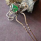 Украшения handmade. Livemaster - original item Hairpin with emerald. Handmade.