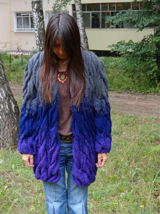 Верхняя одежда ручной работы. Ярмарка Мастеров - ручная работа. Купить Кардиган или пальто из полушерсти. Вязаный кардиган. Handmade.