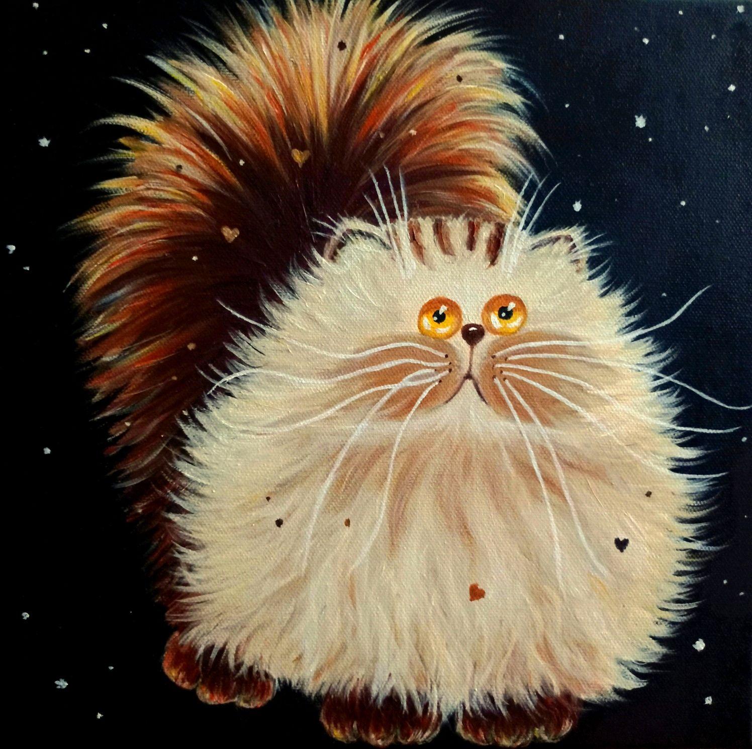 Лунный кот. Картина  маслом. Юмор, Картины, Батайск,  Фото №1