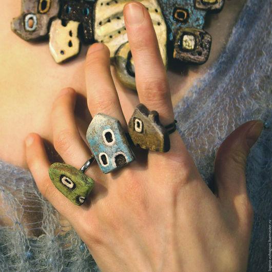 Кольца ручной работы. Ярмарка Мастеров - ручная работа. Купить Колечки-домики. Handmade. Коричневый, комплект украшений, бохо, дерево