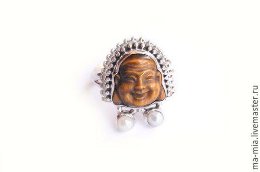 Кольца ручной работы. Ярмарка Мастеров - ручная работа. Купить кольцо Будда. Handmade. Коричневый, кольцо из серебра