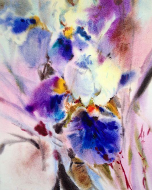 Картины цветов ручной работы. Ярмарка Мастеров - ручная работа. Купить Акварель лиловые ирисы. Handmade. Акварель, ирисы, фиолетовый