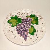 """Посуда ручной работы. Ярмарка Мастеров - ручная работа """"Виноградная лоза"""" тарелка керамическая со стеклом. Handmade."""