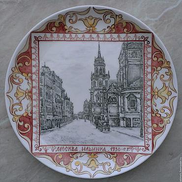 Посуда ручной работы. Ярмарка Мастеров - ручная работа Старая Москва  (фарфоровая тарелка). Handmade.