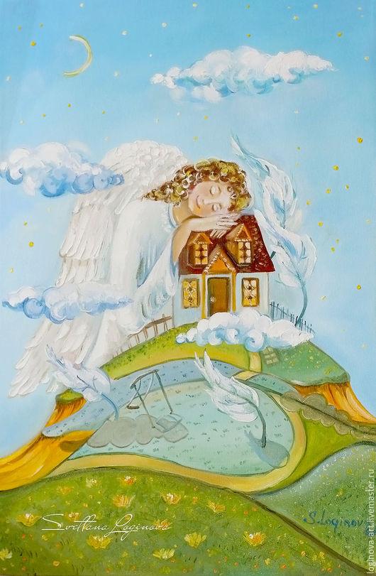 """Фэнтези ручной работы. Ярмарка Мастеров - ручная работа. Купить """"Оберегающий""""-картина маслом с ангелом. Handmade. Голубой, картина в подарок"""