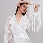 Одежда handmade. Livemaster - original item Long Bridal Robe F29, Long Silk Robe, Bridal Robe with Lace Sleeves. Handmade.