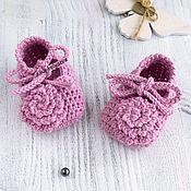 Работы для детей, handmade. Livemaster - original item Knitted booties sandals for girls, pink elegant. Handmade.