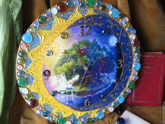 """Часы для дома ручной работы. Ярмарка Мастеров - ручная работа. Купить Часы """"У Лукоморья..."""" и шарики. Handmade."""