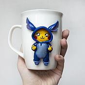 Посуда handmade. Livemaster - original item Pikachu in Stitch`s pajamas. Decor on a mug of polymer clay. Handmade.