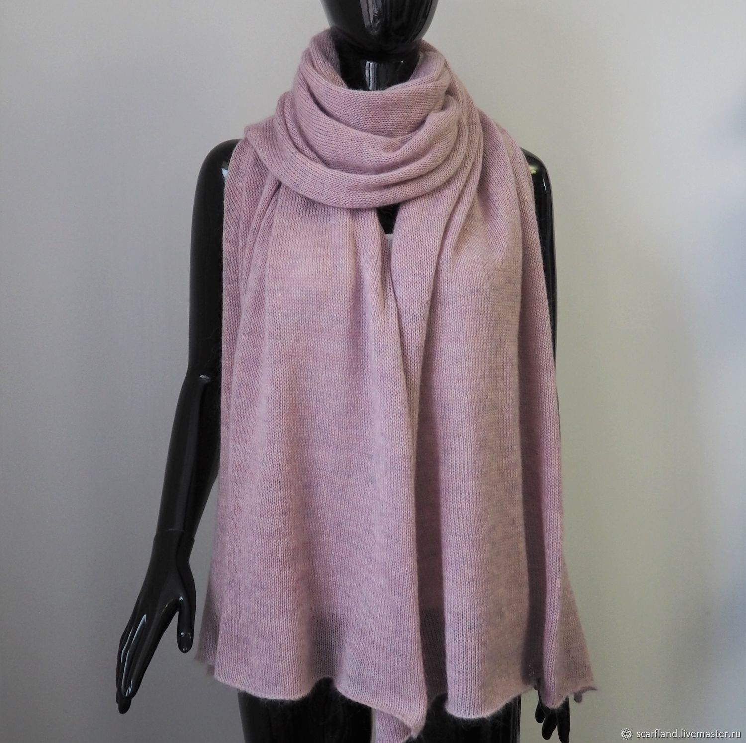 Stole scarf made of kid mohair and alpaca dusty rose, Wraps, Cheboksary,  Фото №1