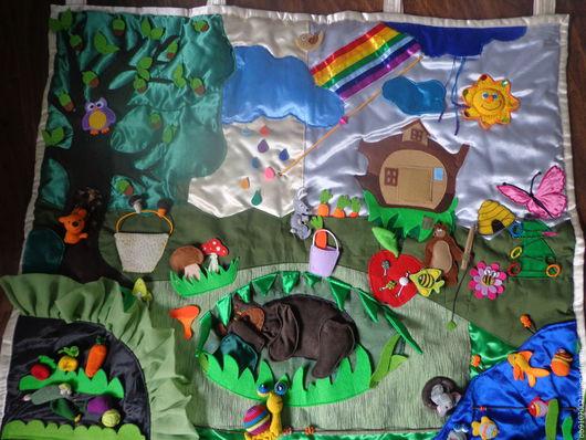 Развивающие игрушки ручной работы. Ярмарка Мастеров - ручная работа. Купить Развивающий коврик. Handmade. Развитие мелкой моторики, атлас