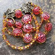 """Украшения ручной работы. Ярмарка Мастеров - ручная работа браслет и серьги """"Чайная роза"""". Handmade."""