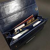 Сумки и аксессуары handmade. Livemaster - original item Wallet men`s clutch dark blue genuine leather Large wallet. Handmade.