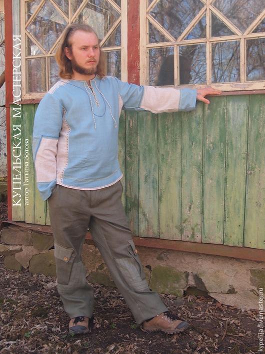 """Для мужчин, ручной работы. Ярмарка Мастеров - ручная работа. Купить Рубаха мужская льняная """"Мелодия ветра"""". Handmade. Голубой"""