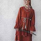 """Одежда handmade. Livemaster - original item Льняная  туника """"Цветочный чай"""". Handmade."""