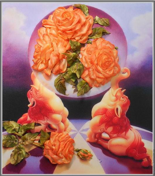 """Картины цветов ручной работы. Ярмарка Мастеров - ручная работа. Купить худ. Ilen Meyer серия """"Розовые фантазии"""" №7 Розы и львы. Handmade."""