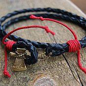Bead bracelet handmade. Livemaster - original item leather bracelet with axe. Handmade.