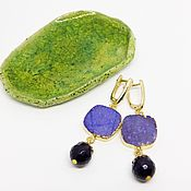 Украшения handmade. Livemaster - original item Sugar plum earrings (purple and gold). Handmade.