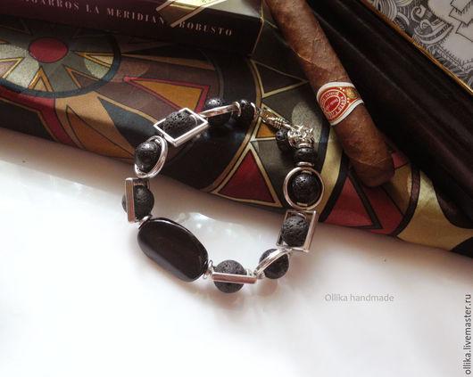 Браслет мужской Черный Агат браслет под серебро, чёрный, комплект украшений купить, браслет в подарок купить, серебряный браслет, браслет с камнями, серьги в подарок, подарок при покупке, мужской под