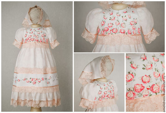 Одежда для девочек, ручной работы. Ярмарка Мастеров - ручная работа. Купить платье с розами. Handmade. Бледно-розовый, цветочный