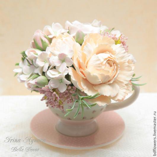 Цветы ручной работы. Ярмарка Мастеров - ручная работа. Купить Цветочная композиция в розово-мятной чашечке. Handmade. Кремовый