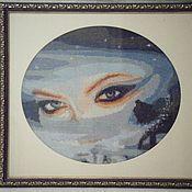 """""""Взгляд снежной королевы"""". Интерьерная вышитая картина"""