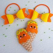 Работы для детей, ручной работы. Ярмарка Мастеров - ручная работа Комплект заколок и резинок для волос Оранжевое настроение. Handmade.