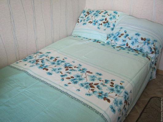 """Текстиль, ковры ручной работы. Ярмарка Мастеров - ручная работа. Купить 1,5 спальный комплект постельного """"Апрель"""". Handmade."""