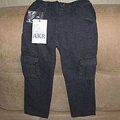 Винтаж handmade. Livemaster - original item Vintage clothing: Dark grey jeans for a boy in a cage the size of 104. Handmade.