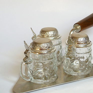 Vintage handmade. Livemaster - original item Glass stack with a cover of tin on the trowel.. Handmade.