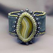Украшения handmade. Livemaster - original item Suede bracelet with agate Song of the forest. Handmade.