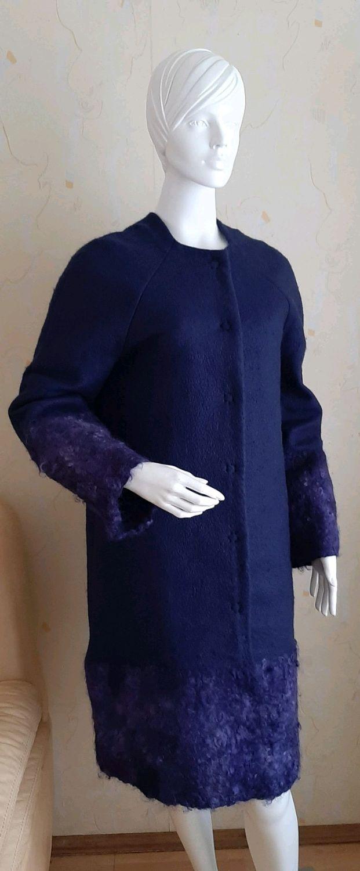 Cocoon coat and wool stole Dark Night, Coats, Vinnitsa,  Фото №1